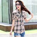 2016 Fashion Plaid Shirt Female College style women Blouses Short Sleeve Flannel Shirt Plus Size Cotton Blusas Office tops F2018