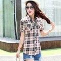 Camisa xadrez 2016 moda estilo universitário feminino mulheres Blusas de manga curta camisa de flanela Plus Size Blusas de algodão escritório tops F2018