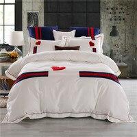 Svetanya Белый Вышитые красное сердце постельное бельё queen King Размеры постельное белье 100% из египетского хлопка