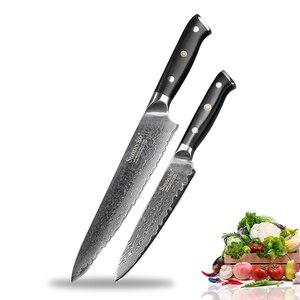SUNNECKO 2PCS Kitchen Knife Set 8'' Chef 5'' Utility Knife Japanese VG10 Damascus Steel G10 Handle Razor Sharp Cooking Cutter