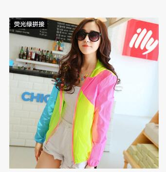 1pcs/lot free shipping woman summer sun protection coat lady casual patchwork neon full hooded beach sun coat