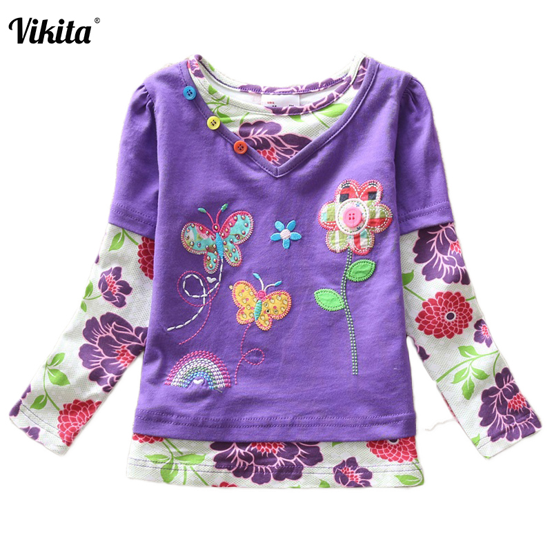 VIKITA Girls T Shirt Kids T Shirt Baby Tees Cotton Flower Tops Clothes Striped Cats Winter Children Girls Tees Long Sleeve G619 fishing lure metal rotating iron plate 1 set hard bait sequins jig spoon lures fishing connector lure pin artificial tackle
