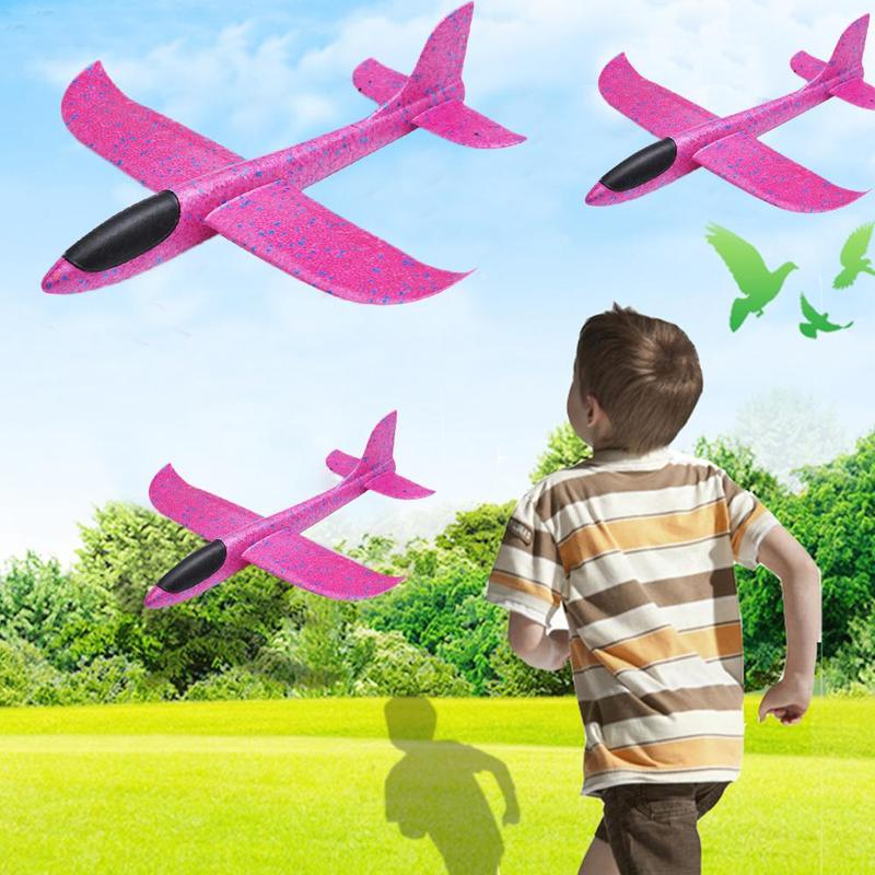 48cm Hand Throw Rc Airplane Rose Red Epp Foam Outdoor Launch Glider Flexible Plane Kids Toy Free Fly Rc Airplane Model