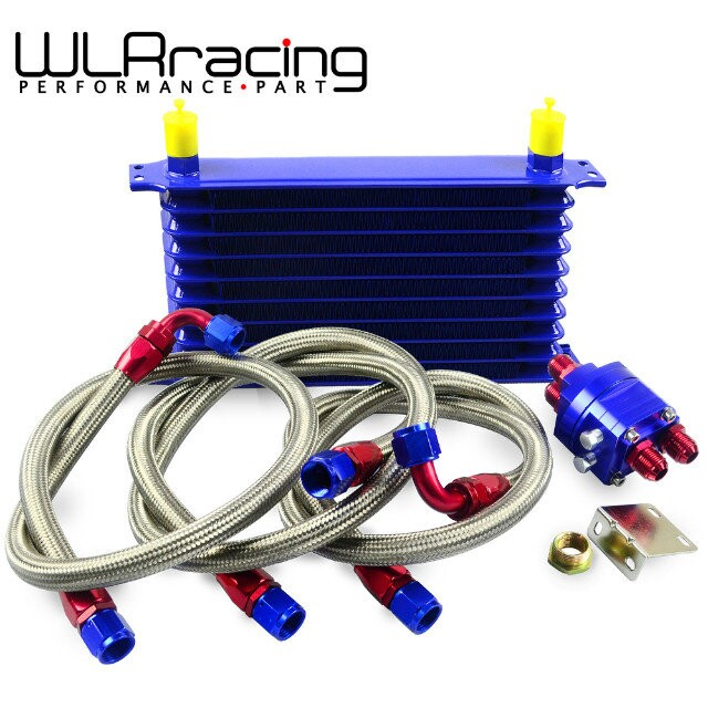 ФОТО WLRING STORE- Universal OIL COOLER 10Row 10AN Aluminum Engine Transmission Oil Cooler Relocation Kit