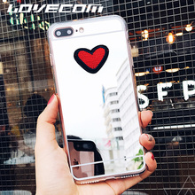 LOVECOM New For Xiaomi Redmi 4A DIY Fashion Cute Stitches Red Love Heart Silver Mirror Soft TPU Fitted Phone Cases Coque
