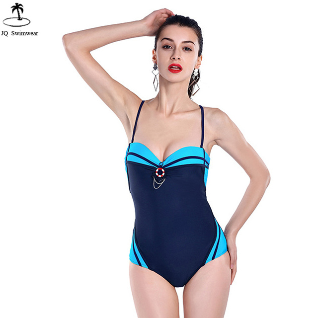 ac551440434 2017 Womens Sexy Vintage Retro One Piece Swimsuit Swimwear Sailor Swimsuit  Push Up Backless Bandage One