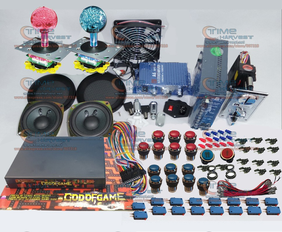 Arcade parts Bundles kit With GOD OF GAMES 900 in 1 Joystick Microswitches Chrome illuminated Buttons for Arcade Cabinet Machine arcade joystick gamepad kit 800 games in 1 video tv jamma 2 joystick vga hidmi metal double stick arcade console with 2players