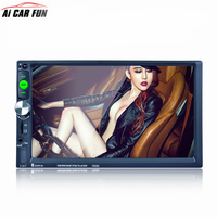 7023D 2DIN 7 Inch Bluetooth HD Car Stereo Audio Player With Card Reader Radio Fast Charge