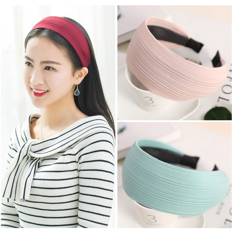 New Fashion Elegant female Hairbands Women Girls wide hair head bands hoop accessories Solid Fabric Headbands   headwear   headdress