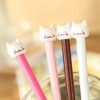 12 pcs/lot Pure and fresh and lovely cute kitty needle tube pens gel pens office school kids pens stationery gifts