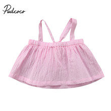 Fashion Summer Toddler Infant Newborn Baby Girls Sleeveless Shoulderless Solid T-shirt Ruffle Tops Blouse Shirts Clothes(China)