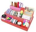 TEXU Rojo DIY Escritorio Mesa de Escritorio Organizador Caja de Maquillaje caja de Almacenamiento de Papelería En Caja