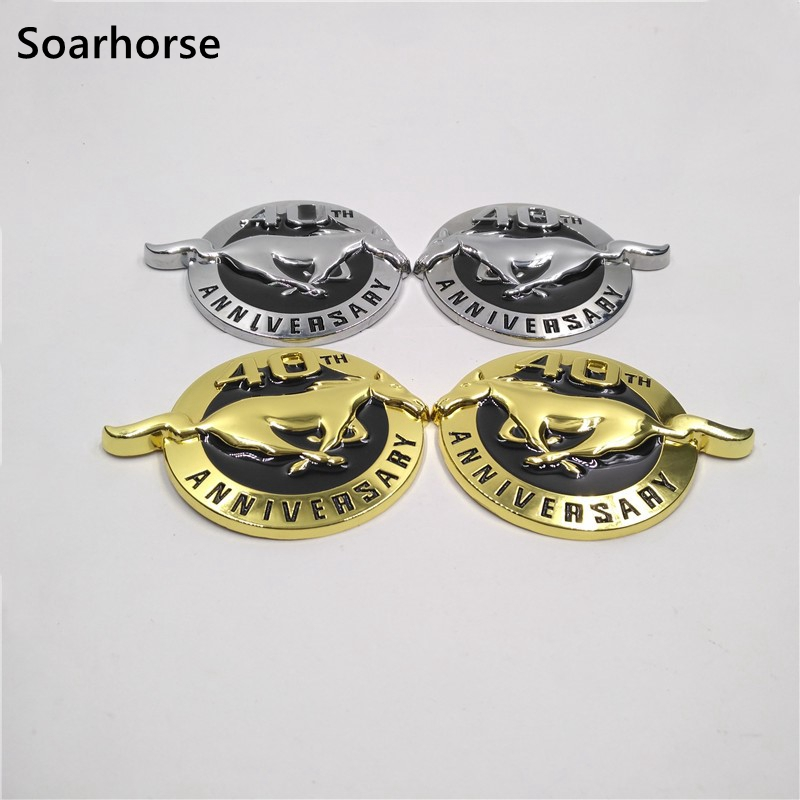 1pc new 45TH ANNIVERSARY Horse Emblem L//R Fender Badge Sticker Ford Mustang