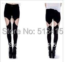 FREE SHIPPING black milk suspenders Autumn leggings rocker punk milk silk cotton SKINNY Garter Leggings pants