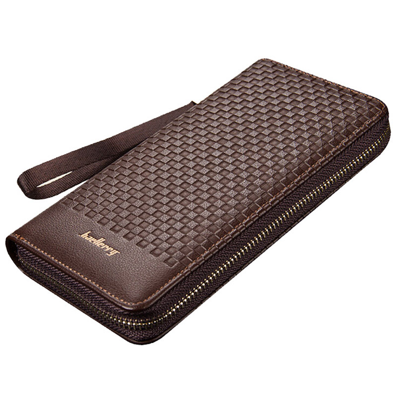 Famous baellerry brand long Knitting pattern business wallet Men's leather purse large capacity card holder clutch bag for man baellerry business wallet clutch long men purse hot sale card holder designer hand bags for man handy bags bid162 pm49
