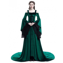 Women Vintage Renaissance Princess Gothic Off Shoulder Dress Halloween Cosplay Costume Ladies Medieval Gown Long Vestidos