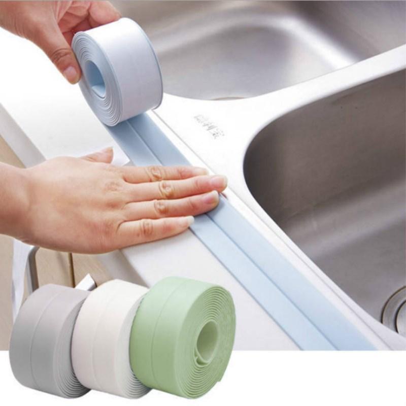 Kitchen DIY Self Adhesive Tape Waterproof White Mildewproof Sealing Sealant Strip Mosaic PVC Wall Sticker Bathroom Kitchen