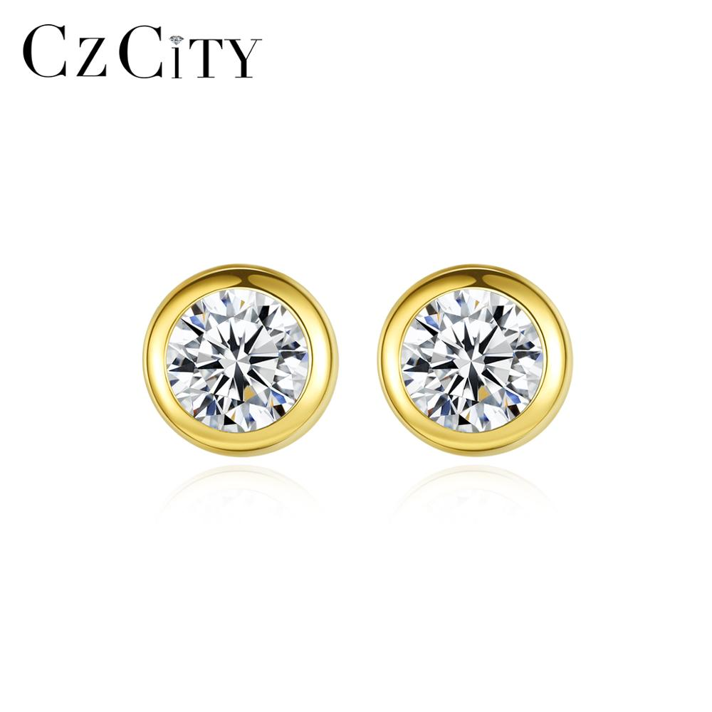 CZCITY Authentic 14k Gold Classic Round Shiny AAA Zirconia Stud Earrings For Women Yellow Gold Fine Jewelry Au585 Brincos E14115