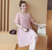 Summer Chiffon Pregnant Women Pregnancy Casual Short Sleeve O-neck Dress Nursing Clothes Maternity Dresses plus size 3 colors