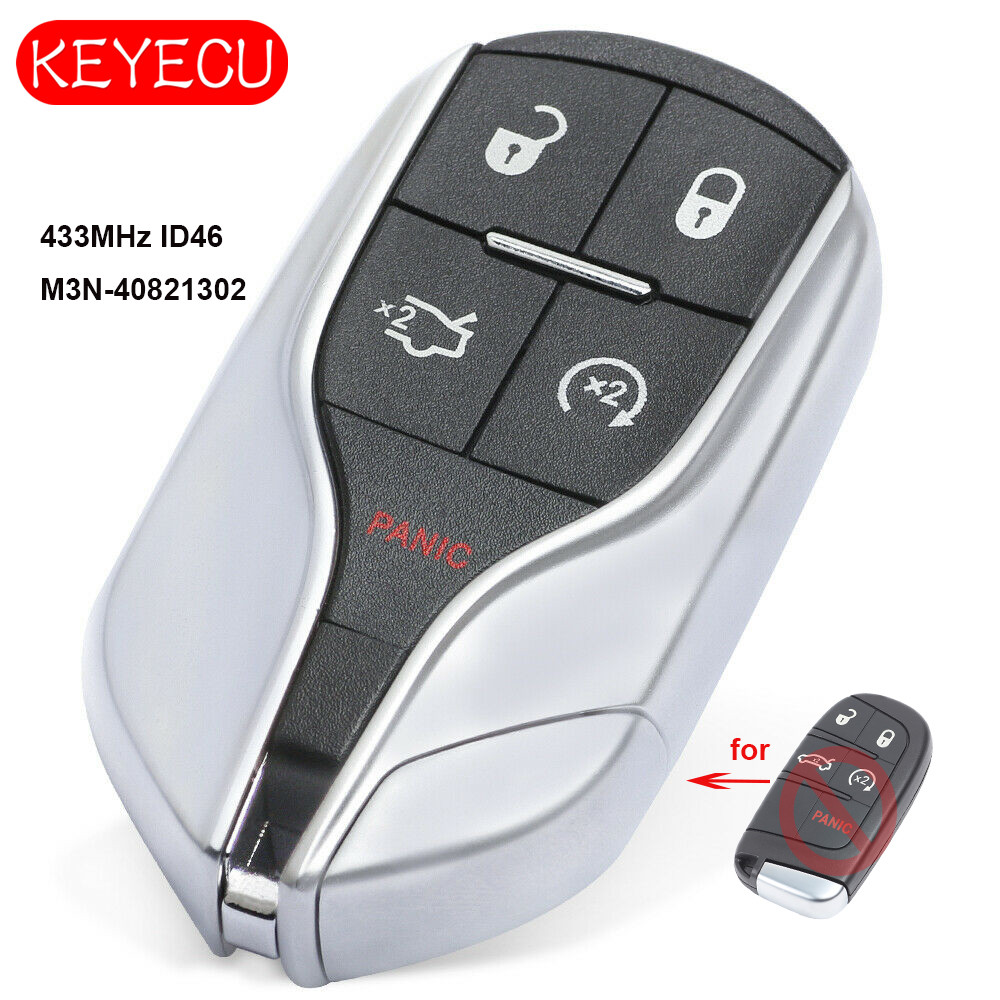 Keyecu Upgrade Remote Key Fob 433MHz ID46 Replacement for Chrysler Jeep Dodge 2011 2018 FCC: M3N 40821302