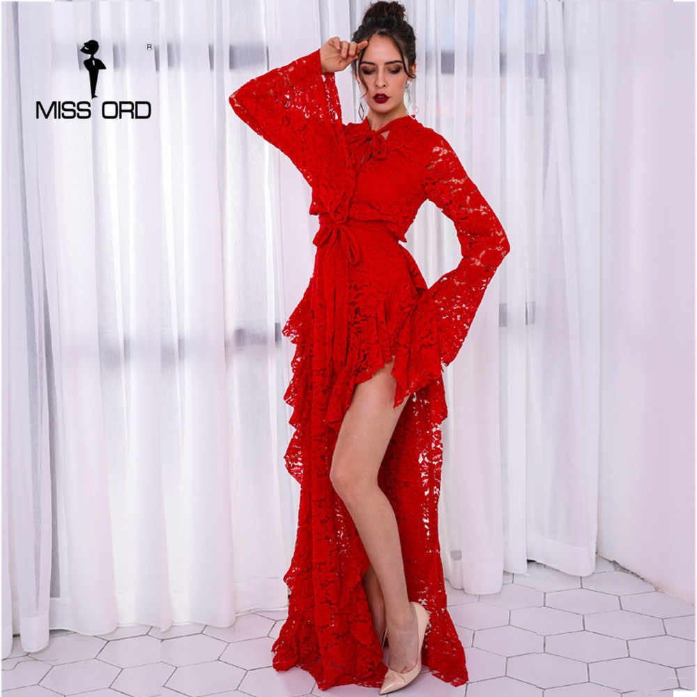 Missord 2019 Sexy Long Sleeve High Split Lace Hollow Out Solid Color Maxi  Elegant Dress FT8754 bdc28ab1c01e