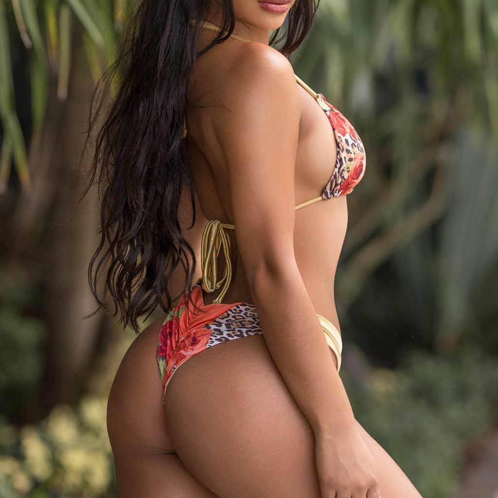 Macan Tutul Cetak Perban Wanita Bikini Musim Panas Kolam Renang Mandi Suit Perban String Tie Biquini Dua Piece Beachwear Bikini Set 2019