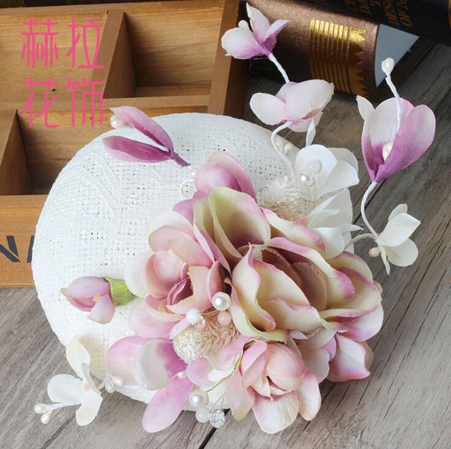 Versión coreana de gama alta de encaje de lino tocado nupcial fotos púrpura flor cabeza accesorios para el cabello accesorios