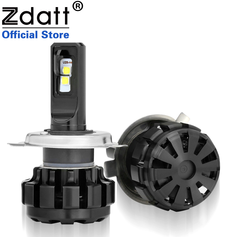 Zdatt 2Pcs Super Bright H4 Led Bulb 100W 12000Lm Auto Headlights Hi Lo Beam Car Led Light Moto 12V Conversion Kits Automobiles