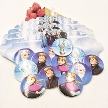 24pcs Cupcake Frozen Elsa Anna Cake Toppers Cartoon Decoration Card Inserts Birthday For Kids Party Supplies
