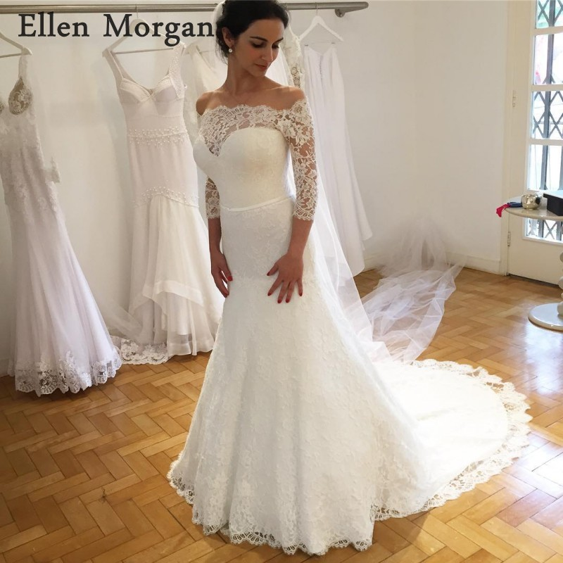 Sexy Off Shoulder Mermaid Wedding Dresses 2019 3 4 Long Sleeves Summer  Garden Ivory Lace c7479220e278