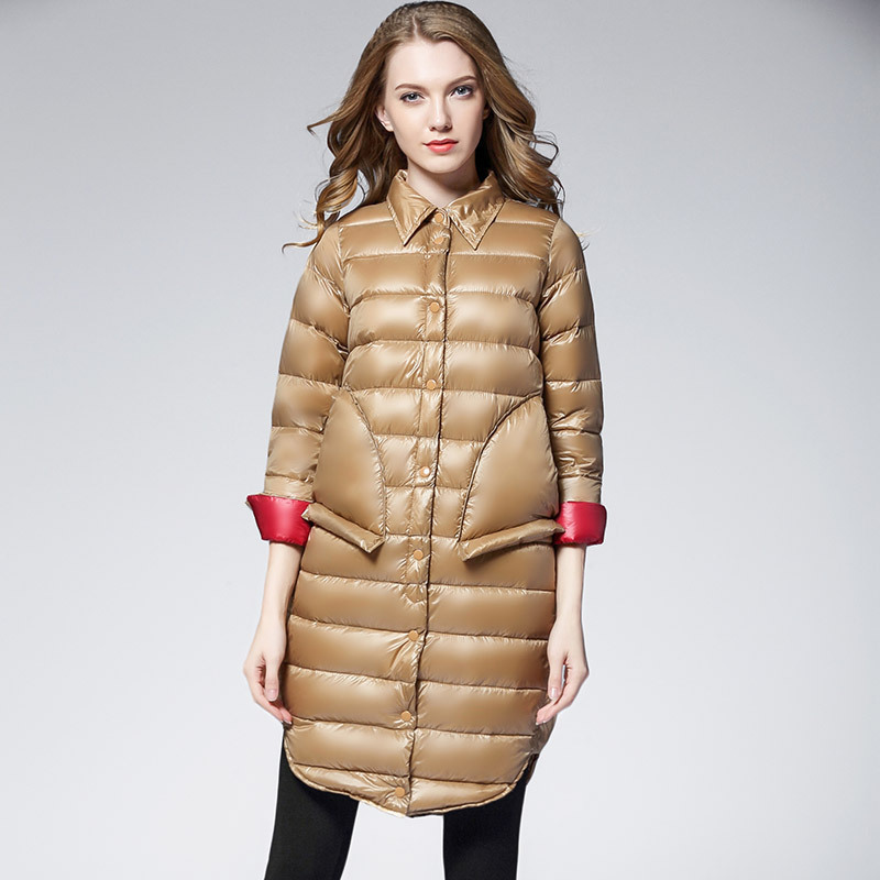 100% Wahr Herbst Winter Frauen Licht Lange Jacken Mäntel Drehen-unten Kragen Langarm Einfarbigen Frauen Padded Mantel Parkas