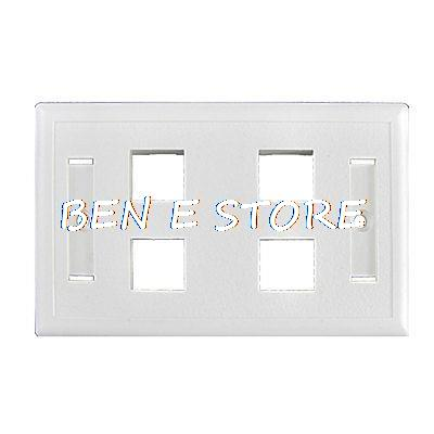 Plastic White <font><b>4</b></font> <font><b>Gang</b></font> Button <font><b>Switch</b></font> Plate Cover Outlet image
