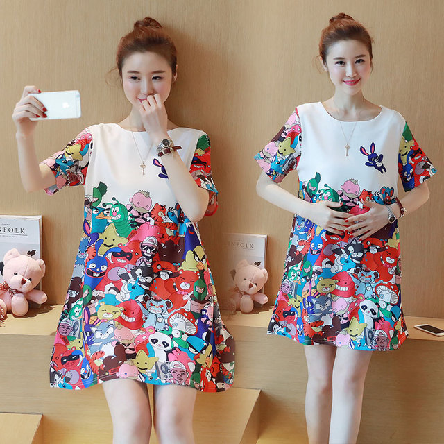 1301909c33e8d 328 Fashion Korea Version Maternity Dress Good Quality Ultra Thin And Ultra  Light Chiffon Colorful Printed Dress For Pregnant -in Dresses from Mother &  Kids ...