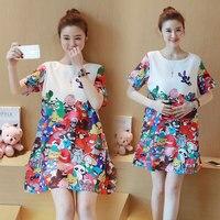 328 versione della corea di modo di maternità dress buona qualità ultra sottile e ultra leggero chiffon colorato stampato dress incinta