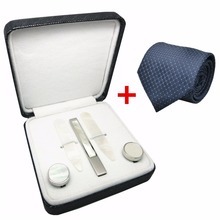 SHANH ZUN Natural Mother of Pearl Shell Inlaid Stainless Steel Cufflinks & Collar Stays & Tie Clip Gift Set for Shirt