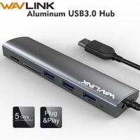 Wavlink высокоскоростной 3 порта USB 3,0 концентратор 5 Гбит/с адаптер концентратор алюминий с SD/Micro SD TF кард-ридер для Macbook ноутбук ПК планшет