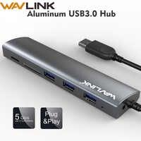 Wavlink Haute Vitesse 3 Ports USB 3.0 Moyeu 5gbps adaptateur moyeu En Aluminium avec SD/Micro SD Lecteur De Carte TF pour Macbook Ordinateur Portable Tablette PC
