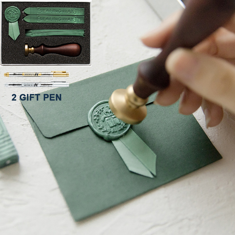 Retro Luxury Creativity Paint Wax Set DIY Handmade Ribbon Label Cute Envelope Stamps Seal for Wedding Invitation Gift Decoration-in Paper Envelopes from Office & School Supplies