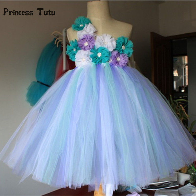 цена Cute Girls Tutu Dress Fluffy Princess Tulle Dress Kids Clothes Baby Girl Pageant Evening Party Gowns Wedding Flower Girl Dresses