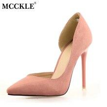 Mcckle 2017 Для женщин слипоны из флока повседневная обувь женские пикантные острый носок на высоком каблуке черные туфли-лодочки женская обувь Свадебная вечеринка Обувь