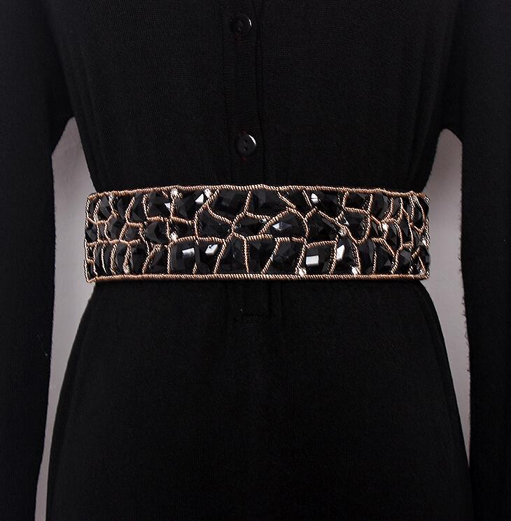 Women's Runway Fashion Diamonds Beaded Elastic Cummerbunds Female Dress Corsets Waistband Belts Decoration Wide Belt R1654
