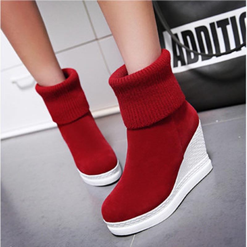 8c4c1019f1f Women Platform Wedges Ankle Boots Fashion Round Toe Slip on Winter Boots  Ladies Casual High Heels Winter Shoes Size 34 43 Boots-in Ankle Boots from  Shoes on ...