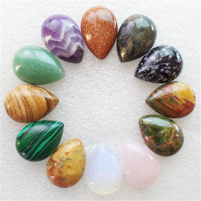 (12 pieces/lot) Wholesale Natural Mixed Stone Teardrop CAB Cabochon 25x18x6mm Free Shipping Fashion Jewelry J420
