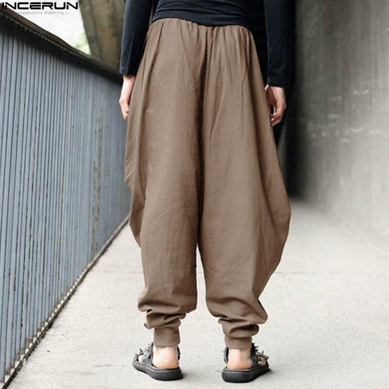 INCERUN, мужские шаровары, мешковатые штаны, мужские, Хакама, льняные, повседневные, широкие, мужские, s штаны, японские брюки, мужские штаны, штаны с промежностью, 5XL