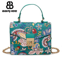 BARHEE New Floral Women Flaps Summer Forest Fashion Girls Crossbody Bags Chains Brand Design Postman Small