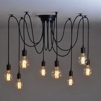 Vintage Edison Multiple Ajustable DIY Ceiling Spider Lamp Light Pendant Lighting Modern Hanging Light Fixture Bulb