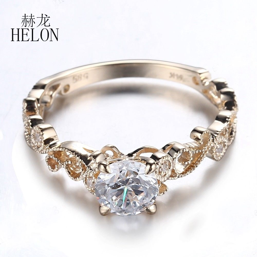 HELON 5.5mm Round Lab Grown Moissanites Diamond Ring Solid 10k Yellow Gold Pave Natural Diamonds Vintage Engagement Wedding Ring aeaw lab grown diamond moissanites engagement bangle solid 10k white gold bracelets for women wedding fine jewelry