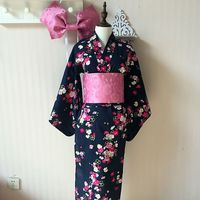 Japanese Kimono Cosplay Traditional Cotton Bathrobes Japan Kimono Flower Yukata Women Bath Robe Floral Sleepwear 80301