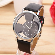 Fashion relojes Cartoon Mickey Mouse Children Watch Transparent Hollow quartz watch ladies Leather strap wristwatch woman Gift