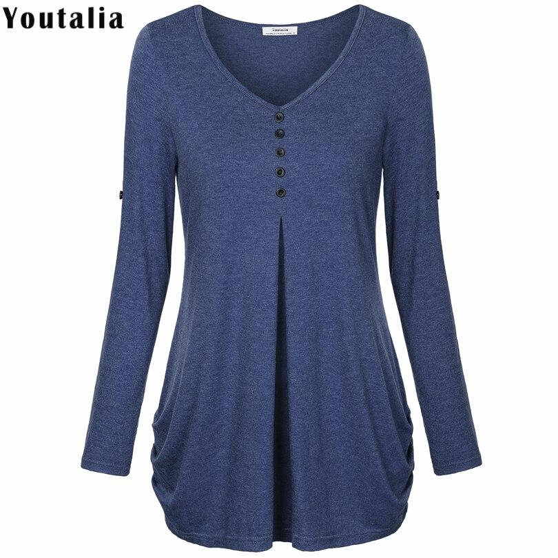 New Women Summer T-shirt Button Long Sleeve Female